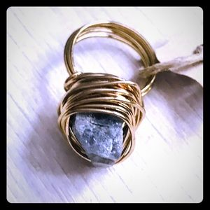 HANDMADE WIRE WRAPPED GOLD STONE RING!
